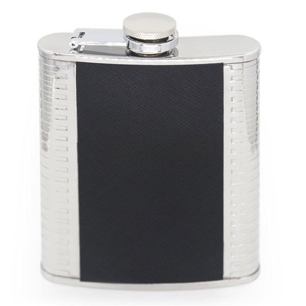6/7 OZ Stainless steel Leather Hip flask with Wine Glasses Gift Set