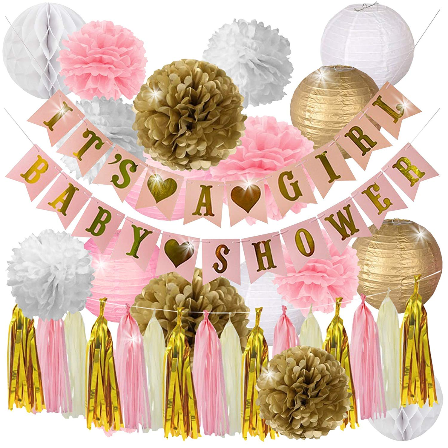 Pink and Gold Baby Shower Decorations for Girl- IT'S A GIRL & BABY SHOWER Garland Banner, Lanterns, Honeycomb Balls, and Tassel by Happy Hour! Party Supplies