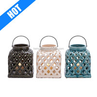 colorful glazed assorted of 3 ceramic glazed lamps and lanterns