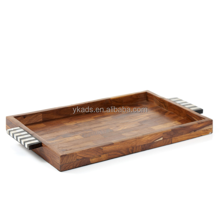 Bamboo serving tray with handles for Home Hotel Restaurant Usage