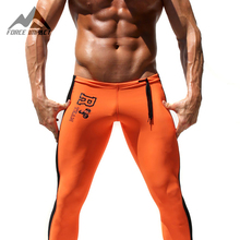 Men's Sport Long Sexy Tight Pants Gym Fashion Pants Athletic Trousers Casual Sweatpants Elastic Skinny Men's Active Pants 2AQ16