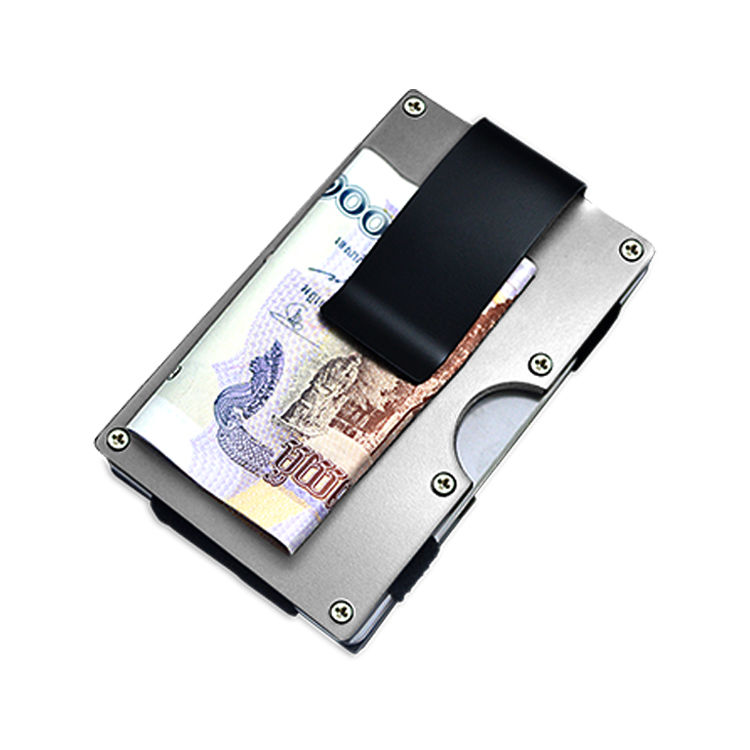 Men's gift metal wallet rfid protection blocking aluminum bank card credit card holder with clip