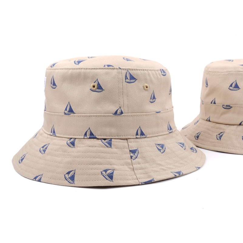 Custom OEM printing fishing bucket hat with woven label