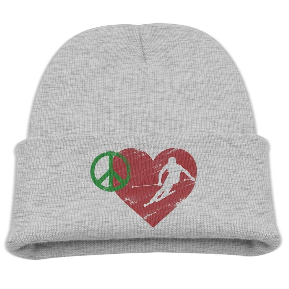 Get Quotations · Rfysqc Wposg Retro Peace Love Ski Heart Vintage Boys Girls  Kids Cute Knit Beanies Hats Skull 3f1cfe9ce80