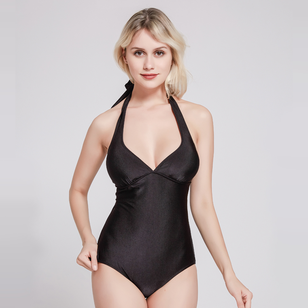 hot sale black monokini swimwear sexy high cut one piece swimsuit for woman 2019