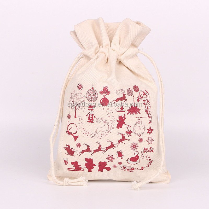Custom Christmas cotton gift bag customized wholesale drawstring gift pouch