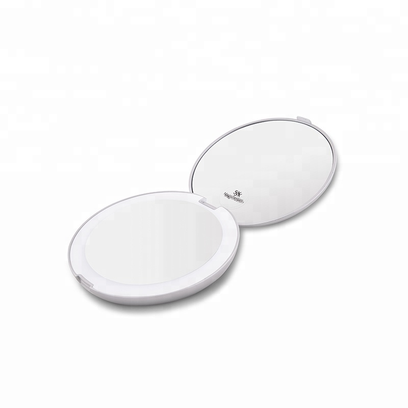 Bolso Handy 5X Magnified LED Cosmetic Mirror Compact