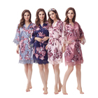 Cheap Floral Silk Kimono Bridal Robes With Lace