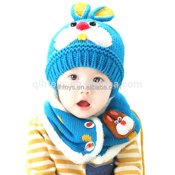 51311199b7a1 2 pièce ensemble chapeau et écharpe ensemble bébé chapeau d hiver lapin  tricot beanie
