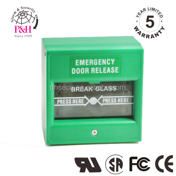 Green color emergency break glass call point with glass element