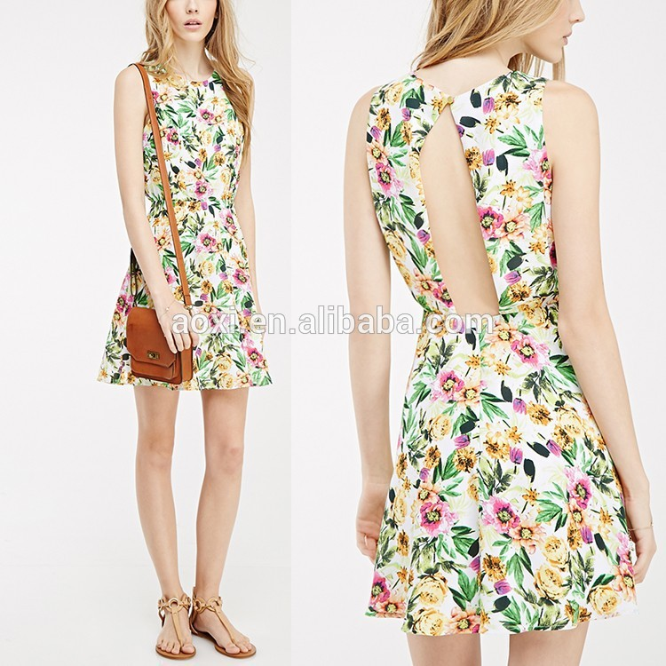 287b743f56746 2015 nueva moda de la ropa del oem floral keyhole volver vestido sencillo  vestido para las