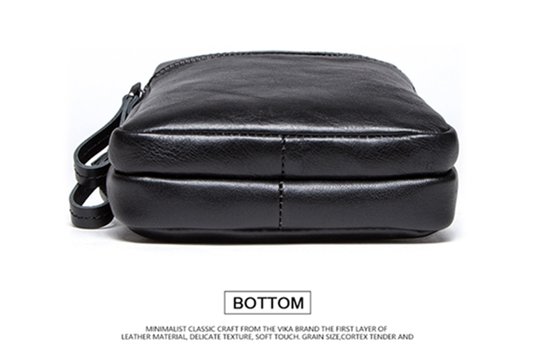 Contact's Kasual Ponsel Ritsleting Saku Depan Bergaris Slim Crossbody Bahu Tas Kulit Asli Pria Messenger Bag-Hitam