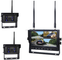 7 Inches Digital Wireless Split Quad Display Backup Rear View Camera Monitor and 4PCS CCD CMOS Car Night Vision Camera