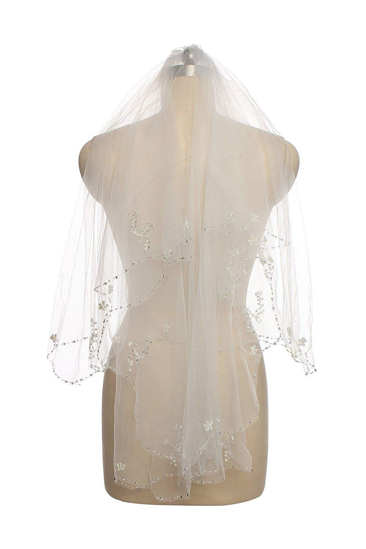 Lisa Wedding Veil Sequin Pearl Edge Luxury Crystals Beaded Bling Bridal Veil LSV006