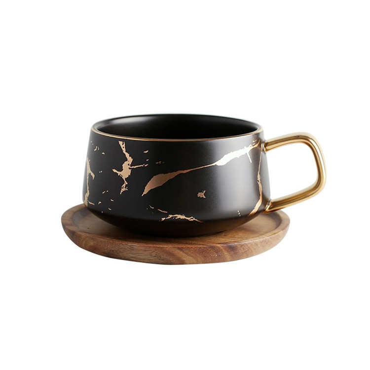 Italain matte black golden surface fancy ceramic coffee cup saucer for cappuccino