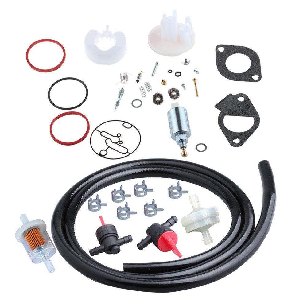 HIPA 796184 Carburetor Overhaul Kit with 699915 Fuel Solenoid 691035 394358S Fuel Line Filter Fuel Shut Off Valve 698183 for Briggs & Stratton Engine Lawn Mower Tractor