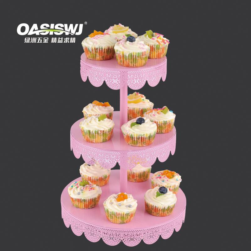 Toz Boya Ile 3 Katlı Metal Cupcake Standı Döner Kek Standı Düğün Kek