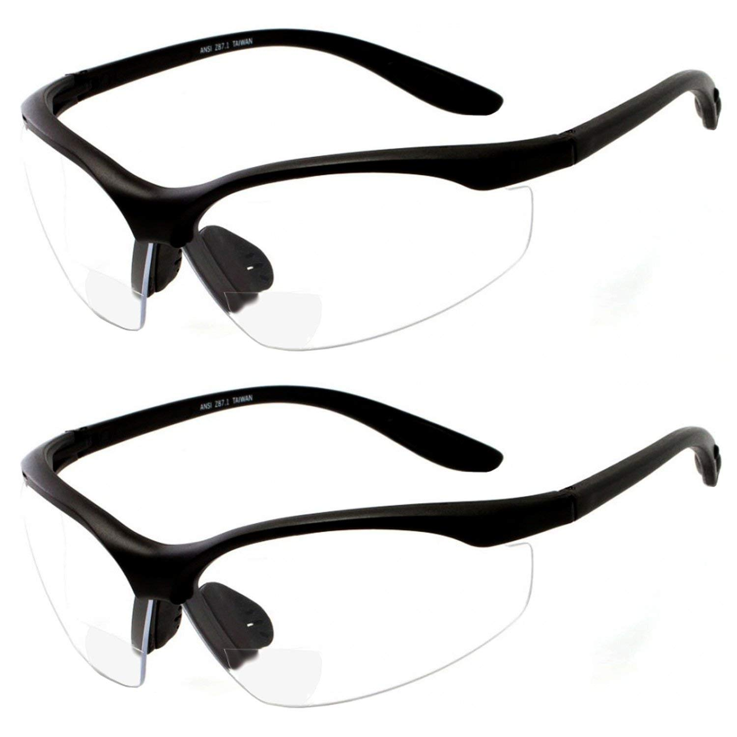9255287a4229 Get Quotations · 2 Pairs Bifocal Safety Glasses Clear Lens with Reading  Corner - Non-Slip Rubber Grip