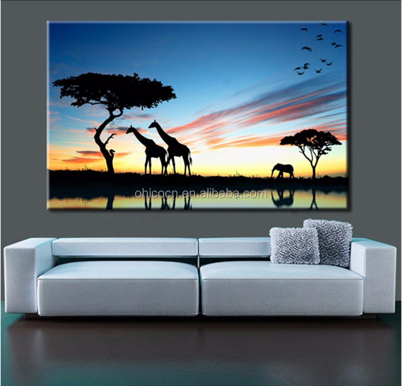 50*70 Afric giraffe Frameless DIY Painting By Numbers Home Decor Jet Printed Landscape Canvas Painting Unique Wall Art Picture