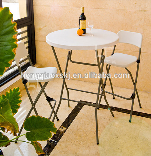81cm plastic folding round cocktail table height bar table
