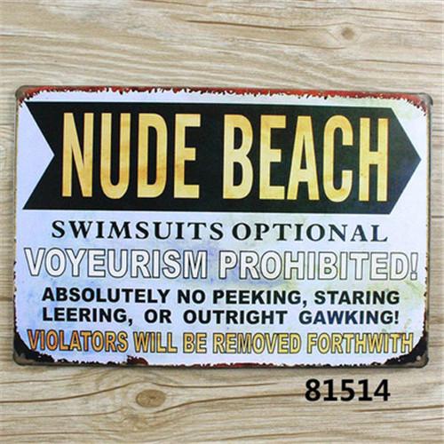 Nude Beach Art Vintage Metal Tin Signs Bar Pub Cafe Home Decor Retro Metal Tin Sign Size:20*30cm  A1501