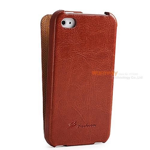 New Luxury  PU Flip Cover for iPhone 4S PU Leather Case Vertical Type Brief Design for 4S Phone Case Top Quality Hot