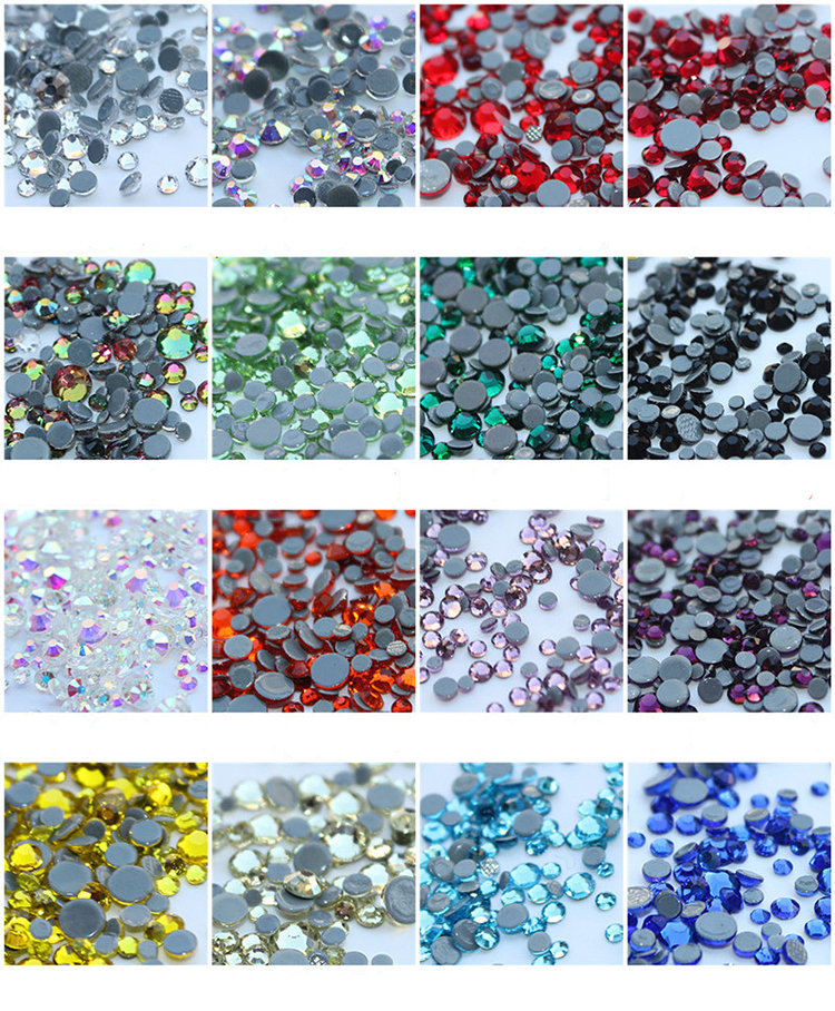 Pujiang flat back AB color glass hotfix rhinestone for shoes