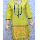 Yellow Round Leaf Kurti With Sequins Work On Neck