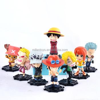 8pcs One Piece Luffy Sanji Franky Smoke Nami Zoro Action Figure