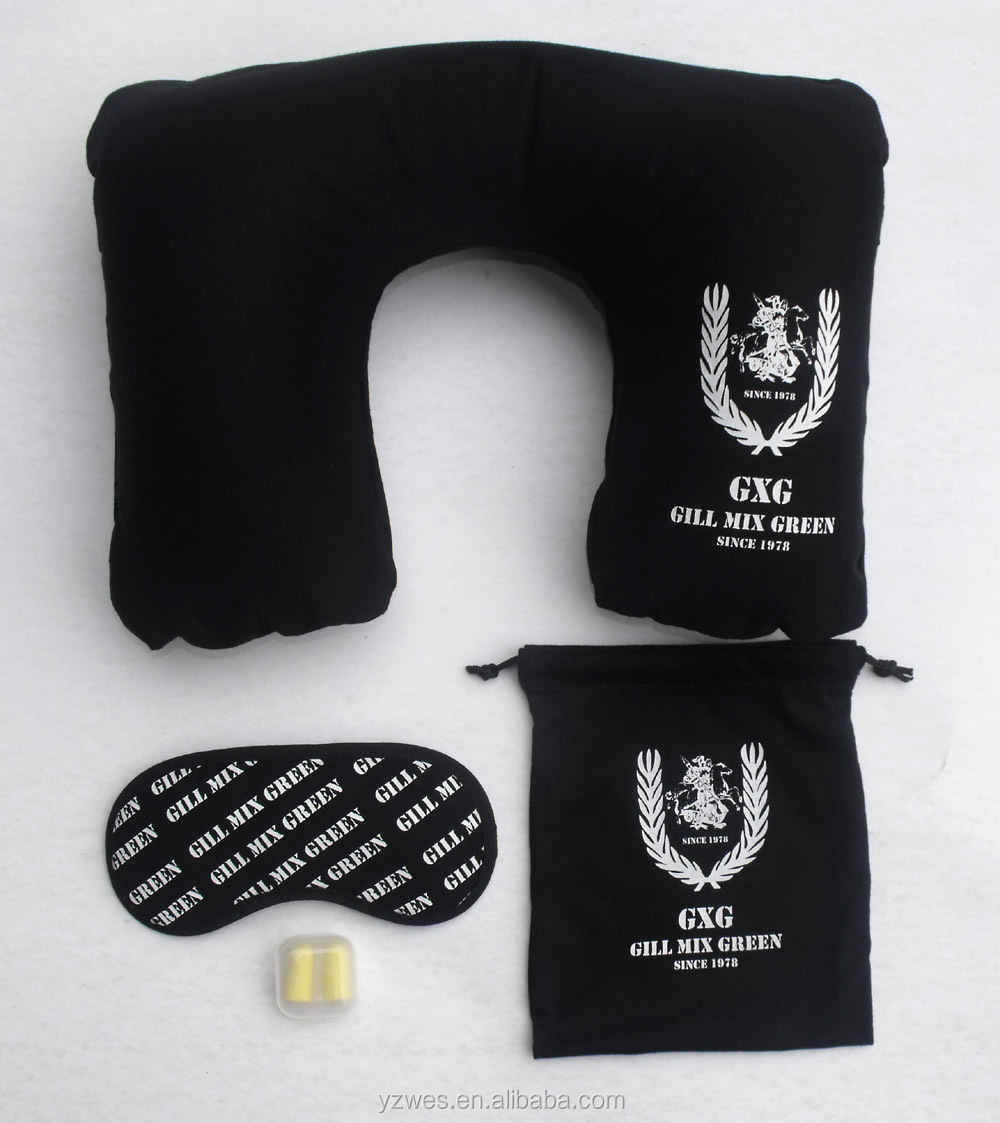 Eye Mask, Travel Pillow, Ear Plugs + Pouch = Great Value 'Travel Kit'
