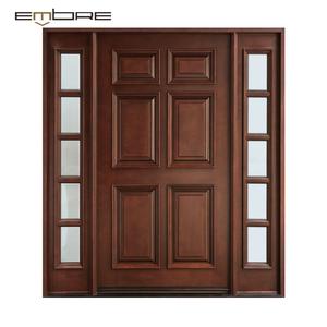 Entry Doors Solid Teak Wooden Double Panel Doors Design