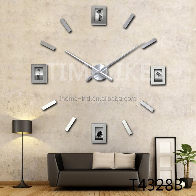 Hot Sales 3d Fotolijst Klok Acryl Spiegel Decoratieve Muur