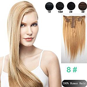 Best selling 9pcs/Set 24 inches clip in Remy Human Straight Hair Extensions Color #8 medium ash bloned Hair Brazilian Straight clip in Hair Extension