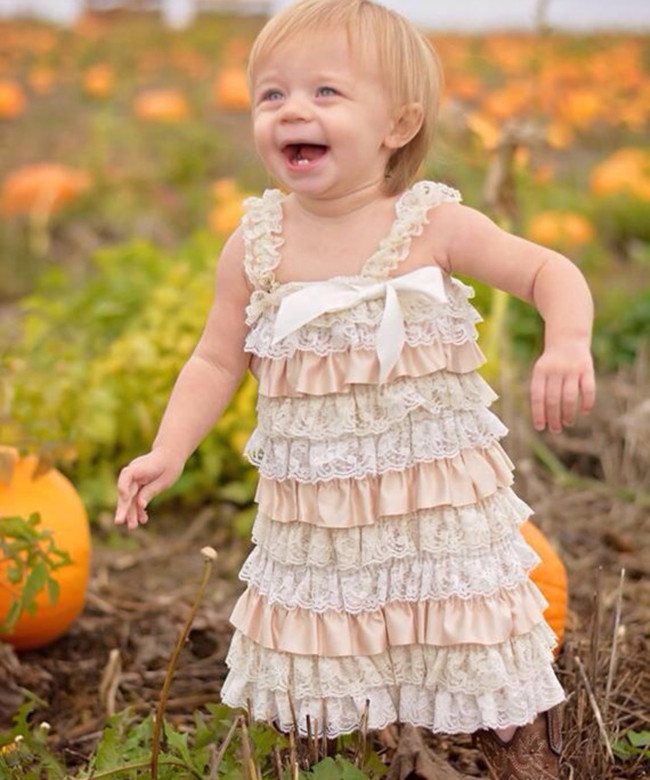 Rustic Country Flower Girl Dress Vintage Champagne Girls