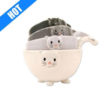 Ceramic Cat Measuring Cups Baking Bowls Buy Measuring