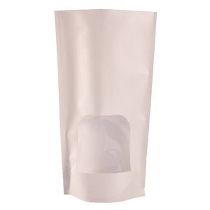 OEM doy pack white kraft brown paper cement mylar ziplock bag with window