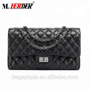 2018 alibaba China hot selling black embroidery genuine leather bags women quilt bag ladies leather bag