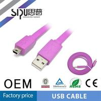 SIPU high quality 2.0 flat molded cable usb mini jack cable
