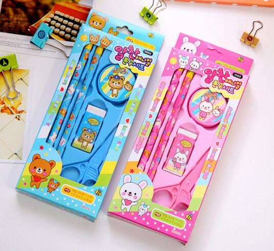 wholesale back to school students stationery novelty gift candy colored cartoon diy creative stationery sets for kids promotion
