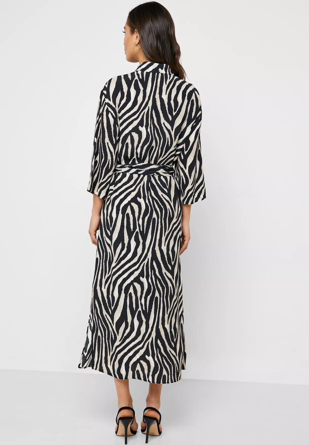 2019 Musim Gugur Pakaian Menengah dan Panjang Lengan Zebra Dasi Grosir Maxi Dress Wanita