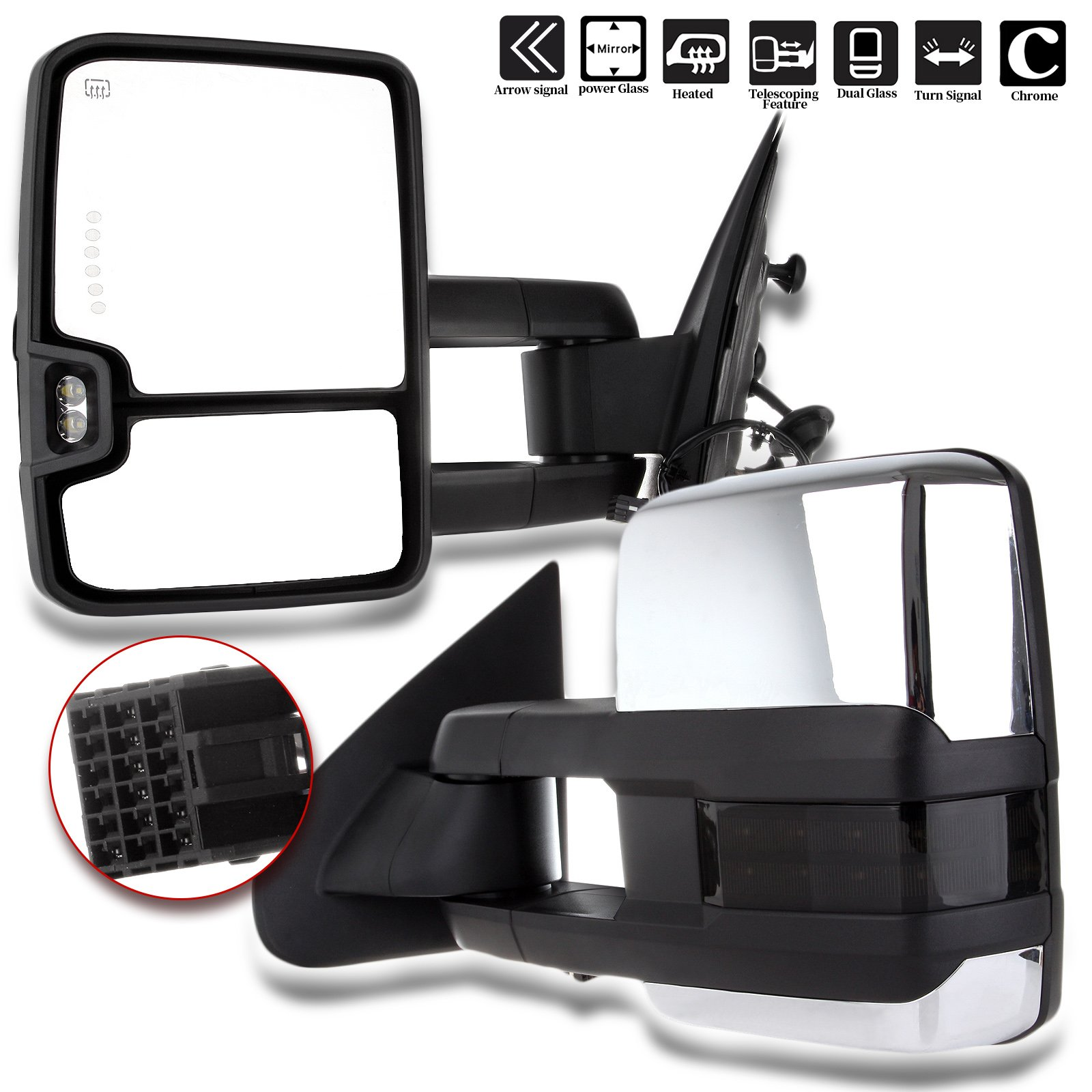 For Chevy GMC Towing Mirrors SCITOO Chrome Rear View Mirrors for 2014-2018 Chevy Silverado/GMC Sierra 1500 2015-2018 Chevy Silverado/GMC Sierra2500 HD 3500HD with Power Heated Signal Backup Light