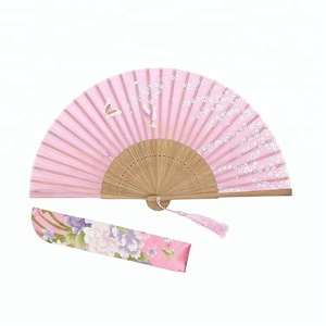Summer Chinese Style Personalized Folding Silk Manual Foldable Bamboo Frame Fabric Hand Fan