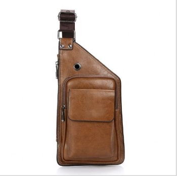 High quality Genuine leather waterproof cellphone bag shoulder sling chest bag for men