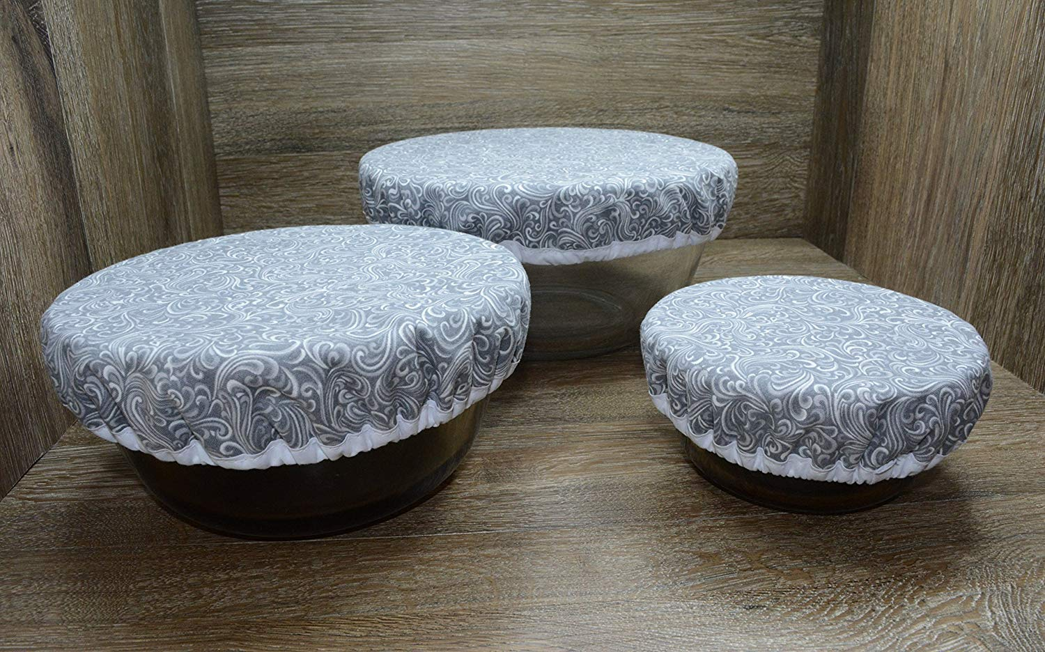 Eco-Friendly//Reusable//Bowl Covers//Set of 3//Feather Grey