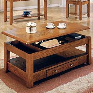Get Quotations · Wood Lift Top Oak Finish Durable Solid Hardwood Wooden  Coffee Table Cocktail Drawer Shelf Storage Modern