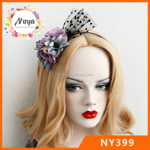 The new net yarn flowers hair band lady retro hair dots veil headband