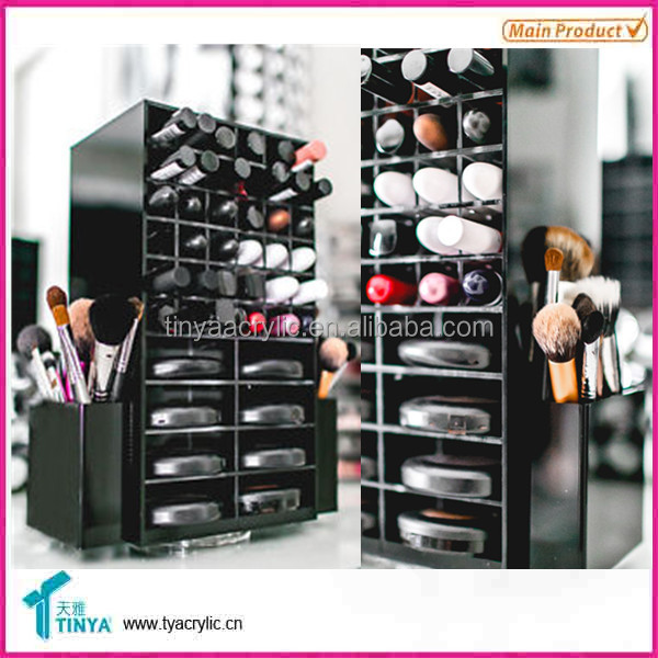 Wholesale Price Desktop Large Bathroom Storage Brush Holder Rotating Black Plastic Eyeliner Cosmetic Organizer