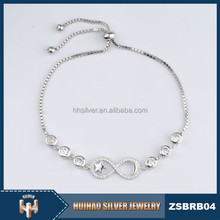 Plata ajustable chraming ladies pulsera de maquetas para al por mayor