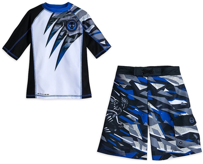 eb0fe07fdb Get Quotations · Black Panther UPF50+ Swim Rash Guard Shirt & Trunk Swimwear  for Boys