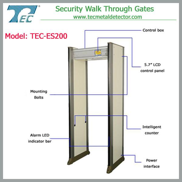 33 zones walk through metal detector price TEC-ES200